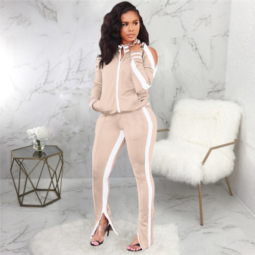 khaki Casual and fashionable two piece suit for women