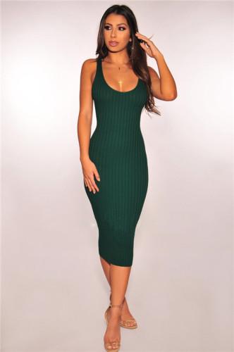 Dark Green Fashion grooved stitched dress