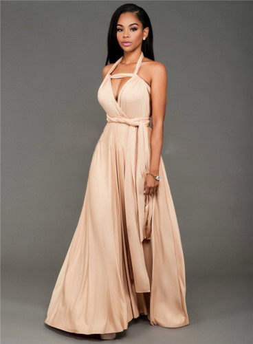 Pink Fashionable and loose, various ways to wear sexy dress