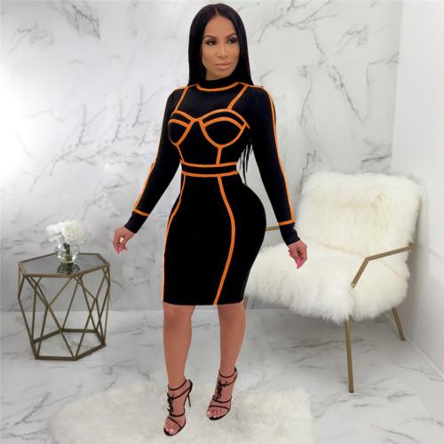 Black&Orange Sexy fashion dress
