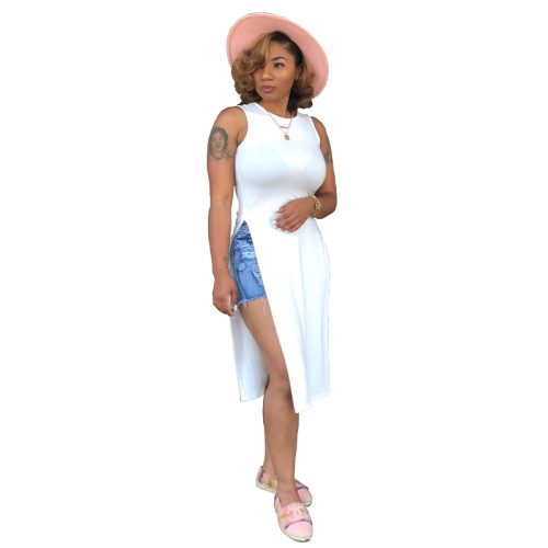 White Fashionable loose casual Cape round neck top