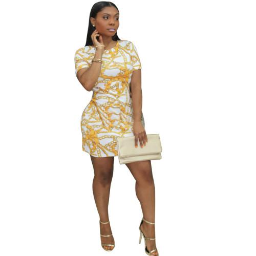 White Sexy fashion multicolor fashion tight dress