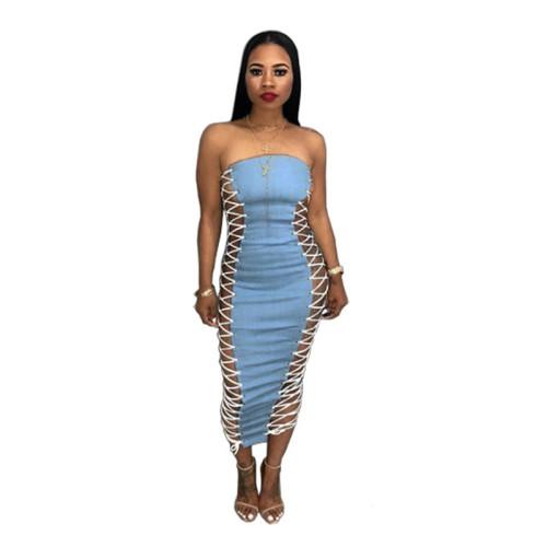 Blue Fashion sexy side corns bandage bra dress