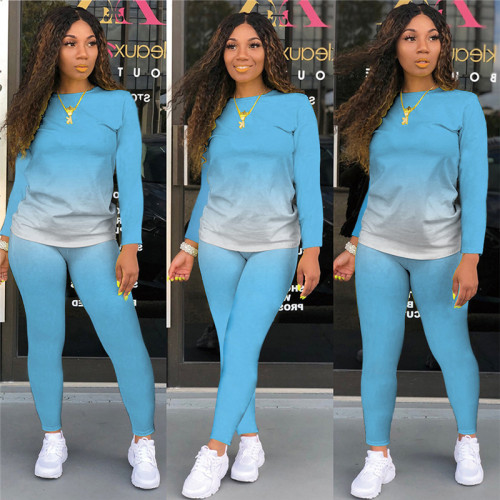 Light Blue Long-sleeved trousers casual sports two-piece suit