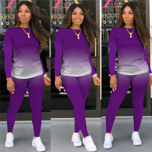 Purple Long-sleeved trousers casual sports two-piece suit