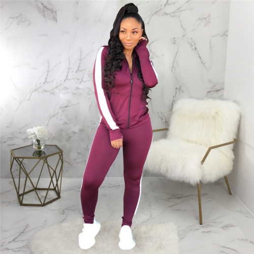 Purple Sexy fashion leisure tight leg sports suit
