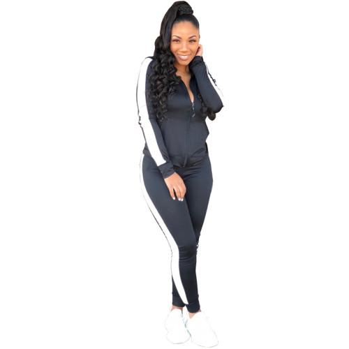 Black Sexy fashion leisure tight leg sports suit