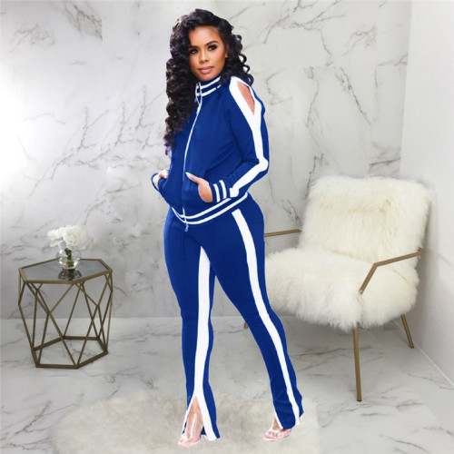 Blue Casual and fashionable two piece suit for women