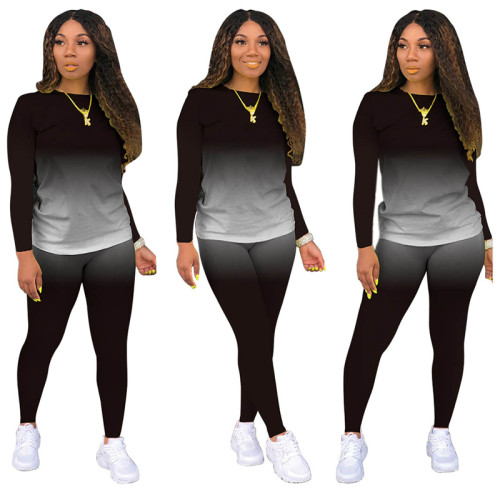 Black Long-sleeved trousers casual sports two-piece suit