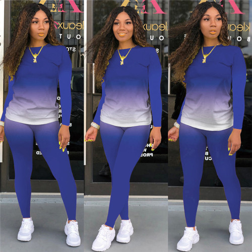 Blue Long-sleeved trousers casual sports two-piece suit
