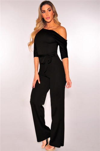 Black Classic solid slant neck one piece wide leg pants