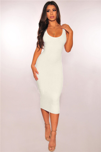 White Fashion grooved stitched dress