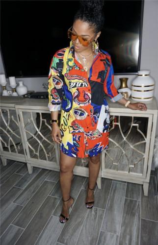 Fashion printed shirt multicolor dress
