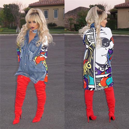 Blue Fashion women's long sleeve denim jacket