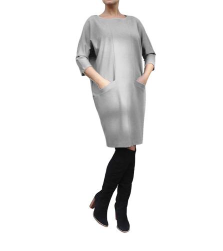 Gray Stylish casual pocket dress