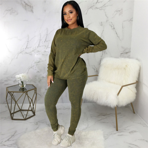 Green Two piece leisure fashion sports suit