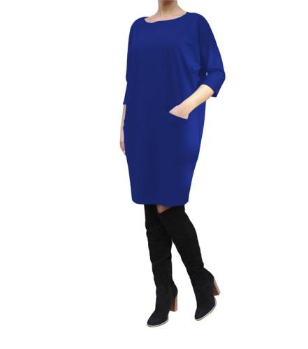 Blue Stylish casual pocket dress