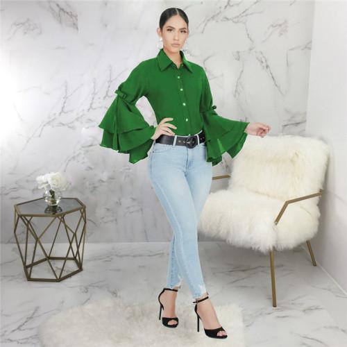 Green Sexy fashion lotus sleeve slim top