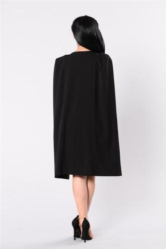 Black Fashion one piece dress with deep V-neck and drape