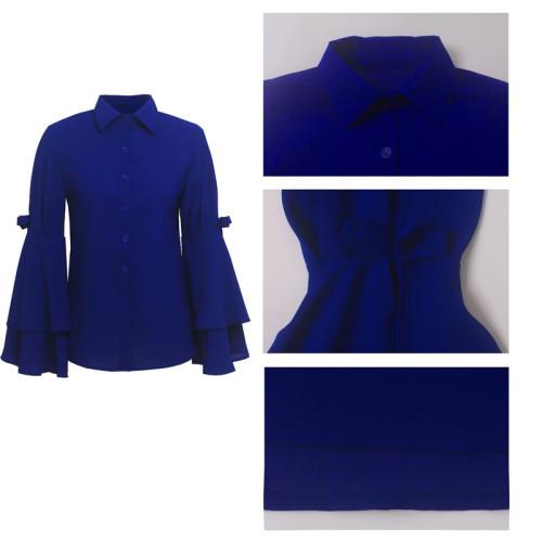 Blue Sexy fashion lotus sleeve slim top