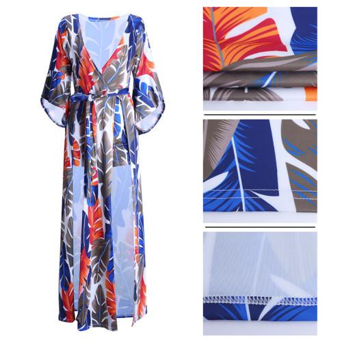 Blue&Yellow Fashion print feather print split Jumpsuit
