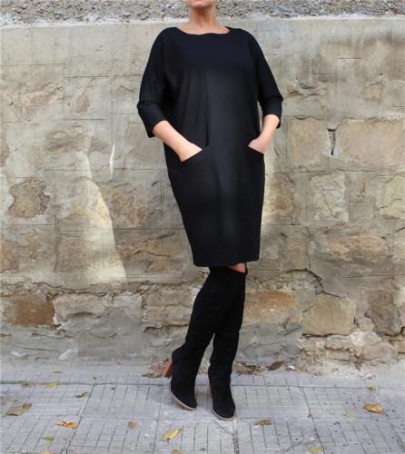 Black Stylish casual pocket dress