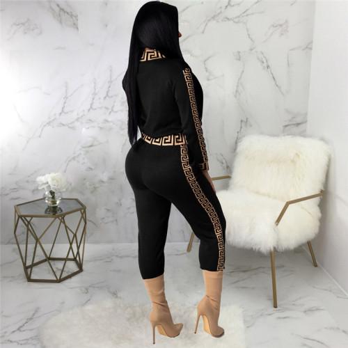Black Sexy fashion print two piece suit
