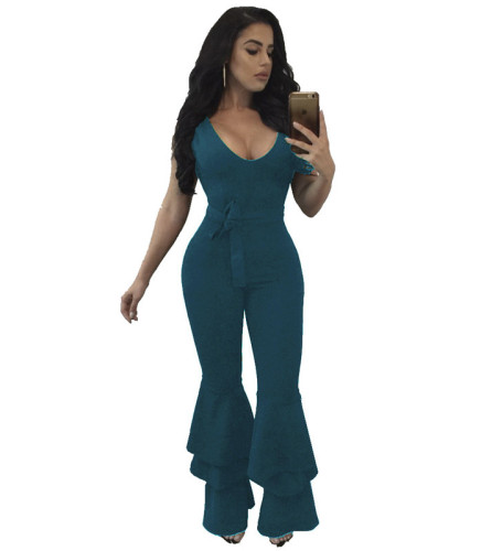 Green Fashionable women's loose casual Jumpsuit with side zipper