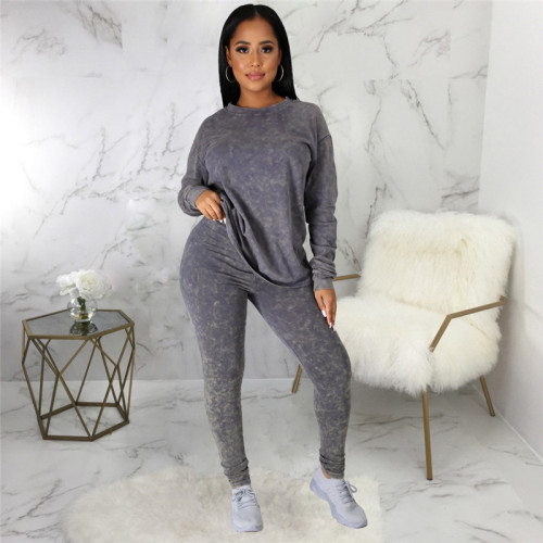 Gray Two piece leisure fashion sports suit