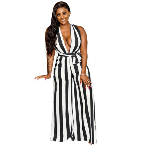 Black Sexy summer wide leg Jumpsuit with various bandages