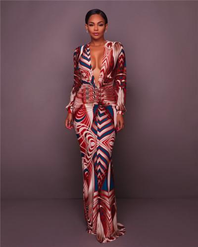 Orange Sexy print fashion dress