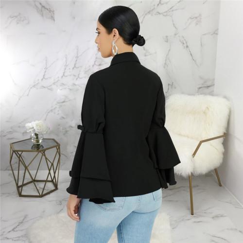 Black Sexy fashion lotus sleeve slim top
