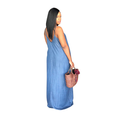 Blue Fashionable loose denim skirt casual one-piece skirt