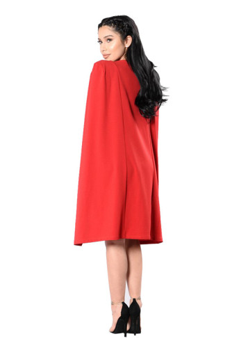 Red Fashion one piece dress with deep V-neck and drape