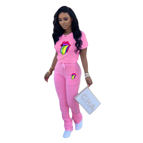 Pink 2 Printed fold sports and leisure two-piece suit