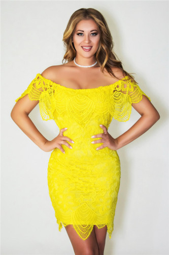 Yellow Sexy summer lace dress