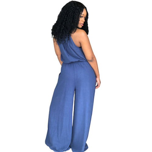 Blue Fashion strapping jeans slim casual Jumpsuit