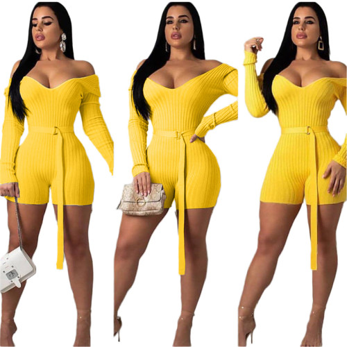 Yellow One shoulder solid color sexy jumpsuit