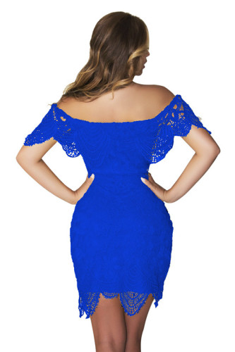 Blue Sexy summer lace dress