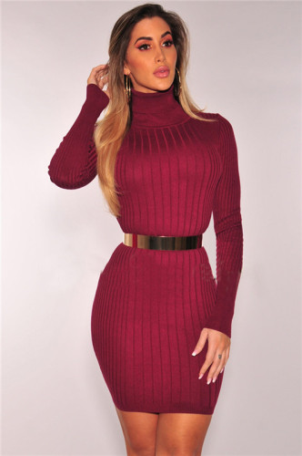 Claret Sexy fashion autumn and winter high collar dress