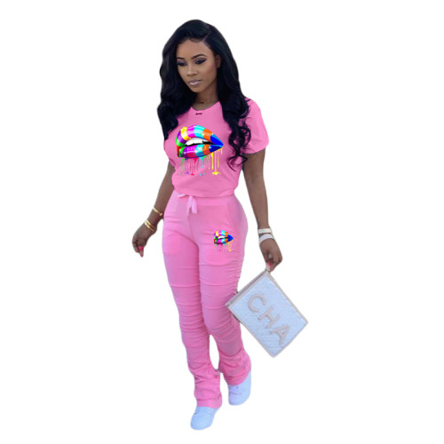 Pink 1 Printed fold sports and leisure two-piece suit