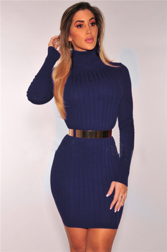 Dark Blue Sexy fashion autumn and winter high collar dress