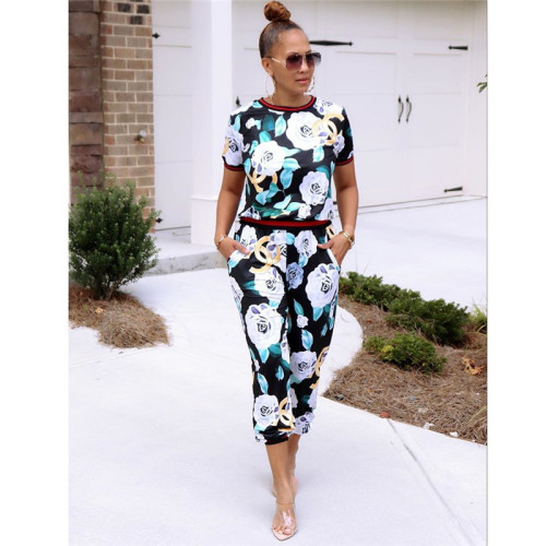 Sexy and fashionable two piece printed sports suit