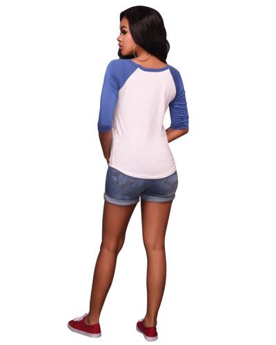 Blue Sexy print high stretch slim T-shirt