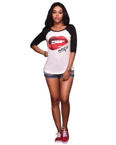Black Sexy print high stretch slim T-shirt