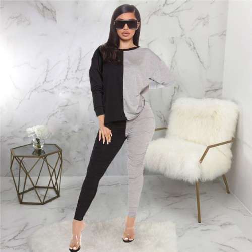 Black Two piece suit for leisure and fashion