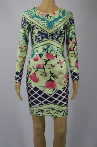 Print Sexy Long Sleeve Dress