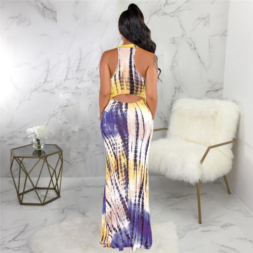 Purple Sexy fashion print slim dress