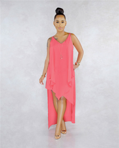 Pink Sexy fashion classic solid Chiffon Pullover beach skirt