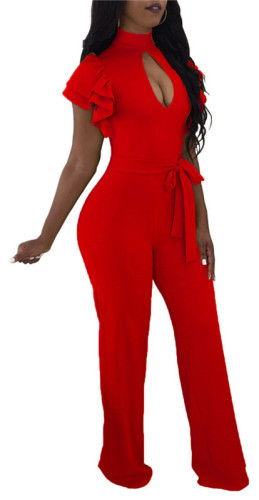 Red Sexy wide leg Jumpsuit